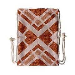 Fabric Textile Tan Beige Geometric Drawstring Bag (small)