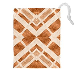 Fabric Textile Tan Beige Geometric Drawstring Pouches (XXL)