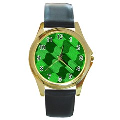 Fabric Textile Texture Surface Round Gold Metal Watch