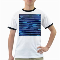 Fabric Texture Alternate Direction Ringer T-Shirts