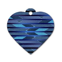 Fabric Texture Alternate Direction Dog Tag Heart (One Side)