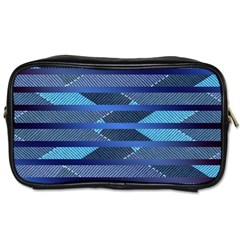 Fabric Texture Alternate Direction Toiletries Bags 2-Side