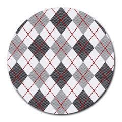Fabric Texture Argyle Design Grey Round Mousepads