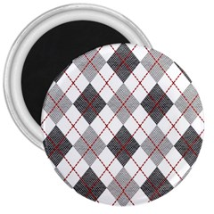 Fabric Texture Argyle Design Grey 3  Magnets