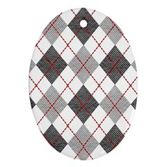 Fabric Texture Argyle Design Grey Ornament (Oval)