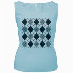 Fabric Texture Argyle Design Grey Women s Baby Blue Tank Top
