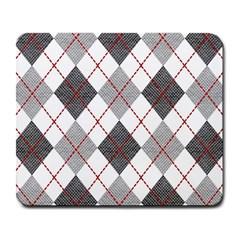 Fabric Texture Argyle Design Grey Large Mousepads