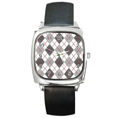 Fabric Texture Argyle Design Grey Square Metal Watch