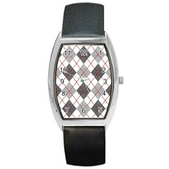 Fabric Texture Argyle Design Grey Barrel Style Metal Watch