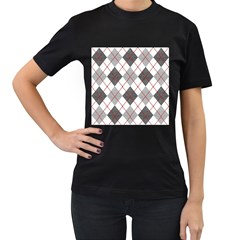 Fabric Texture Argyle Design Grey Women s T-Shirt (Black) (Two Sided)