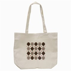 Fabric Texture Argyle Design Grey Tote Bag (Cream)