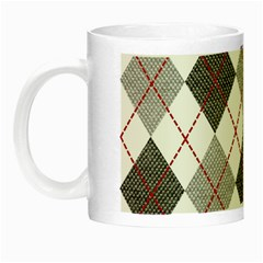 Fabric Texture Argyle Design Grey Night Luminous Mugs