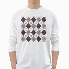 Fabric Texture Argyle Design Grey White Long Sleeve T-Shirts