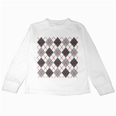 Fabric Texture Argyle Design Grey Kids Long Sleeve T Shirts