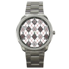 Fabric Texture Argyle Design Grey Sport Metal Watch