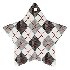 Fabric Texture Argyle Design Grey Star Ornament (Two Sides)