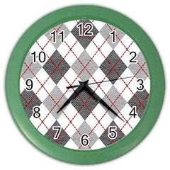 Fabric Texture Argyle Design Grey Color Wall Clocks