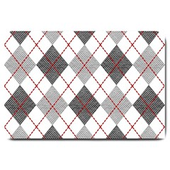 Fabric Texture Argyle Design Grey Large Doormat