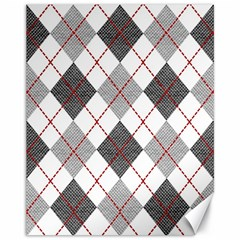 Fabric Texture Argyle Design Grey Canvas 11  x 14