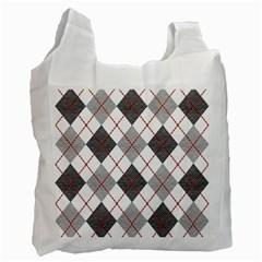 Fabric Texture Argyle Design Grey Recycle Bag (One Side)
