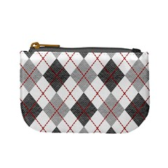 Fabric Texture Argyle Design Grey Mini Coin Purses