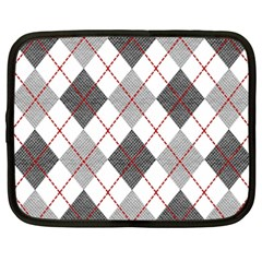 Fabric Texture Argyle Design Grey Netbook Case (xxl)