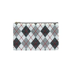 Fabric Texture Argyle Design Grey Cosmetic Bag (small)