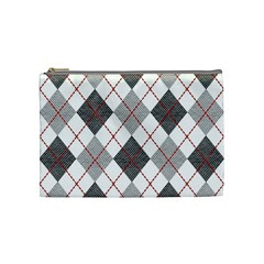 Fabric Texture Argyle Design Grey Cosmetic Bag (Medium)