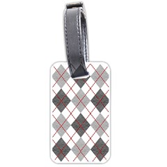 Fabric Texture Argyle Design Grey Luggage Tags (One Side)