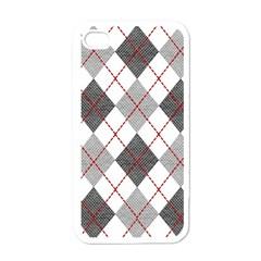 Fabric Texture Argyle Design Grey Apple iPhone 4 Case (White)