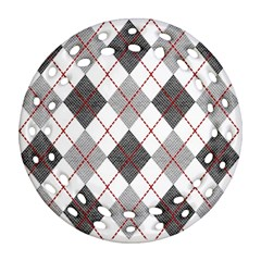 Fabric Texture Argyle Design Grey Round Filigree Ornament (Two Sides)