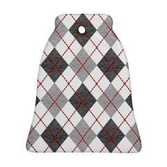 Fabric Texture Argyle Design Grey Bell Ornament (Two Sides)