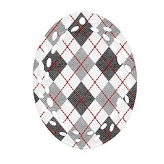 Fabric Texture Argyle Design Grey Oval Filigree Ornament (Two Sides)