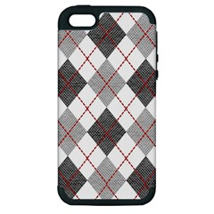 Fabric Texture Argyle Design Grey Apple Iphone 5 Hardshell Case (pc+silicone)