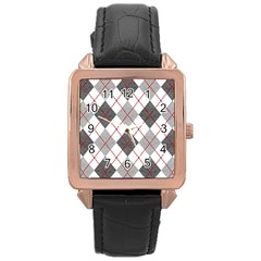 Fabric Texture Argyle Design Grey Rose Gold Leather Watch