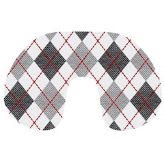 Fabric Texture Argyle Design Grey Travel Neck Pillows