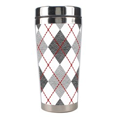 Fabric Texture Argyle Design Grey Stainless Steel Travel Tumblers