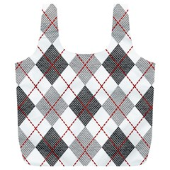 Fabric Texture Argyle Design Grey Full Print Recycle Bags (l)