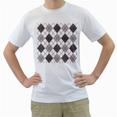 Fabric Texture Argyle Design Grey Men s T-Shirt (White)
