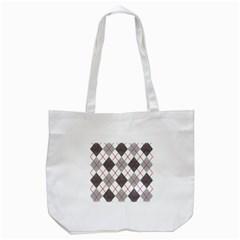 Fabric Texture Argyle Design Grey Tote Bag (White)
