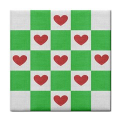 Fabric Texture Hearts Checkerboard Tile Coasters