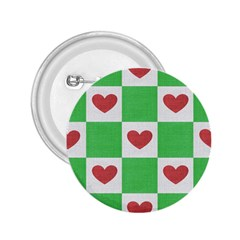 Fabric Texture Hearts Checkerboard 2.25  Buttons