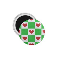 Fabric Texture Hearts Checkerboard 1.75  Magnets