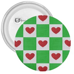 Fabric Texture Hearts Checkerboard 3  Buttons