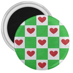 Fabric Texture Hearts Checkerboard 3  Magnets