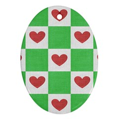 Fabric Texture Hearts Checkerboard Ornament (Oval)