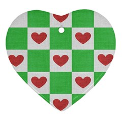 Fabric Texture Hearts Checkerboard Ornament (Heart)