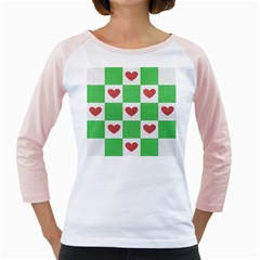 Fabric Texture Hearts Checkerboard Girly Raglans
