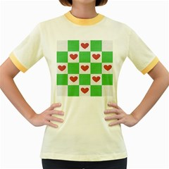 Fabric Texture Hearts Checkerboard Women s Fitted Ringer T Shirts