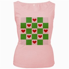Fabric Texture Hearts Checkerboard Women s Pink Tank Top